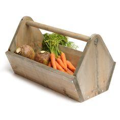 Porte-outils, ramasse légumes en bois d'épicéa avec anse