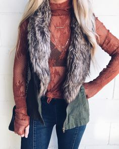 Fall outfit inspo fur vest and free people long sleeve lace top