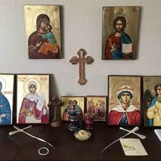 BlessedMart customer testimonial home altar / prayer corner Byzantine Art, Byzantine Icons, Prayer Corner, Open Wings, Hand Carved, Hand Painted, Home Altar, Archangel Michael, Religious Icons