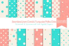 Check out Seamless Linen Coral&Turquoise Dots by RaccoonGirl Design on Creative Market