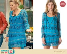 Laurie's blue embroidered tie-neck dress on Cougar Town.  Outfit Details: http://wornontv.net/29930/ #CougarTown