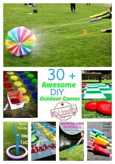 30 Awesome Summer Outdoor Games For Kids to Play Over 30 Easy DIY Summer Outdoor Games to play with the kids! Water balloon games and more! Over 30 Easy DIY Summer Outdoor Games to play with the kids! Water balloon games and more! Outdoor Games To Play, Outdoor Toys, Outdoor Birthday Games, Kids Birthday Party Games, Outdoor Water Games, Indoor Games, Family Outdoor Games, Water Balloon Games, Water Gun Games