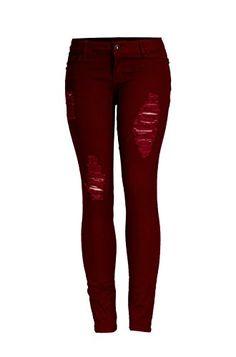 2LUV Women's Colored Distressed Skinny Jeans Burgundy 1 (S1886) 2LUV http://www.amazon.com/dp/B00QJQP040/ref=cm_sw_r_pi_dp_N.lXub0X6NMXY