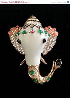 Vintage Ciner Elephant Brooch - Very Rare