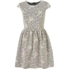 Jacquard Floral Flippy Dress (£61) ❤ liked on Polyvore featuring dresses, vestidos, topshop, cream, floral pattern dress, white dress, white flower print dress, textured dress and cream floral dress