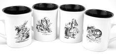 On Sale! 39.99 reg. 49.95 Alice in Wonderland Mug Set-Set of Four with Alice, Mad Hatter, White Rabbit & Cheshire Cat-Engraved on Both Sides