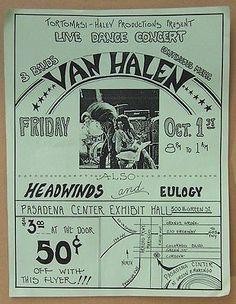 Original Rare Vintage VAN HALEN Concert Handbill Flyer
