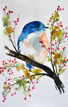 ORIGINAL Watercolor Painting, Bird in a spring tree, Bird art 6x9.5 Inch