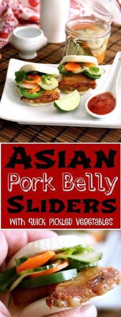 The flavors of this Asian Pork Belly Bun are amazing. The pork belly is soft, unctuous and delicious dipped in the sweet hoisin sauce. It's an impressive appetizer.