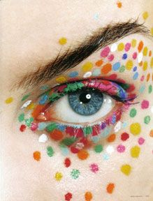 Joyful and happy colorful rainbow and dots eye makeup, great for fairies, fantasy makeup and girly clown makeup.