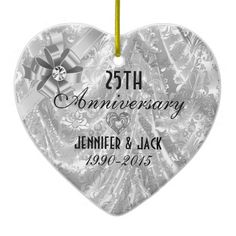 Black & Silver 25th Wedding Anniversary Ornament 2 Ornaments