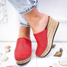 Vintage Hollow-out Closed Toe Wedges Sandals Filler Heel Slippers herh – herhershoes Lace Up Sandals, Open Toe Sandals, Wedge Sandals, Boho Sandals, Trendy Sandals, Wedge Shoes, Summer Sandals, Flat Shoes, Summer Shoes
