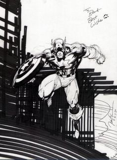 Jim Lee - My First Piece of Original Art, in Constant N's Jim Lee Comic Art Gallery Room Comic Book Artists, Comic Artist, Comic Books Art, Marvel Comics, Anime Comics, Jim Lee Art, Batman Drawing, Comic Frame, Black And White Comics