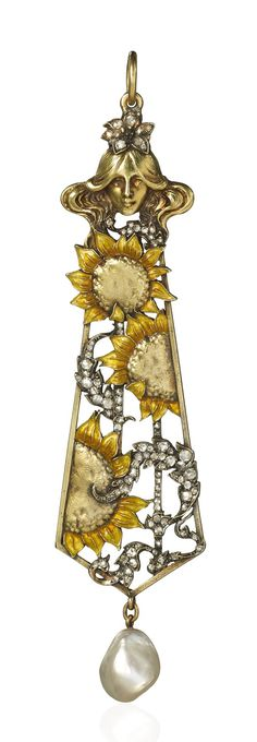Lalique 1896 Pendant of open elongated form beneath a maiden's head motif surmount and set with enamelled sunflower motifs and diamond set fronds within a yellow gold frame suspending a natural pearl drop. Exhibited by Hancocks London
