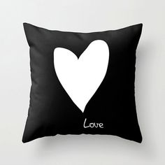 Love throw pillow  Black and white cushion by DickensInk on Etsy, £22.00