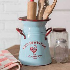 Red Rooster Kitchen Caddy Pitcher Add the perfect finishing touch to your kitchen counter top with this whimsical Red Rooster Kitchen Caddy Pitcher. Display floral arrangements or large kitchen utensils. x Not guaranteed watertight. Kitchen Caddy, Kitchen Utensil Holder, Kitchen Utensils, Kitchen Ware, Utensil Storage, Kitchen Redo, Kitchen Shelves, Cooking Utensils, Kitchen Gadgets