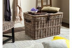Layla Wicker Trunk, Natural...Perfect to store blankets and hide a wire across the wall in my bedroom