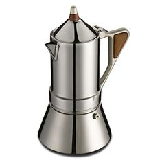 GAT Regina Caffettiera - Stove Top Espresso Coffee Maker - Induction Suitable - Stainless Steel - 6/4 Cups ** Read more info by clicking the link on the image. #StovetopEspressoMokaPots