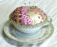 I ❤ embroidery & crazy quilting . . . Teacup & Saucer PinCushion ~By Susie W.