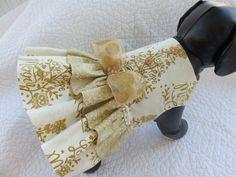 Christmas Dog Dress Gold Custom Made by graciespawprints on Etsy