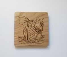 Fisherman sleeping in his boat coaster (Laser engraved) Laser Engraving, Coasters, Sleep, Boat, Handmade Gifts, Creative, Crafts, Kid Craft Gifts, Dinghy