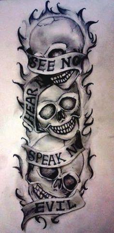 See no evil, Hear no evil, Speak no evil skull tattoo design (18)