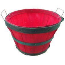 Half Bushel Basket w/ Red & Green Hoops Item 281415