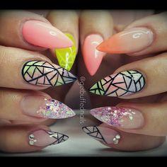 #prettynails for #pretty @ladysparrow_8 ❤ #nailart #handpainted #longnails #pointynails #nailprodigy #nailartdesigns #notd #instanails #ignails #nailswag #nailgamestrong #melbournenailart #peachfade #ombrè #nails #glitter from @glitter_heaven_australia  #gellyfit #gelpolish from @gellyfitaustralia