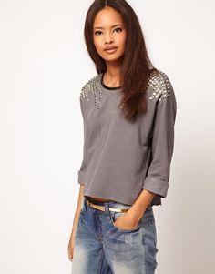 Enlarge ASOS Sweatshirt with Stud Shoulder. Dress up the sweatshirt.