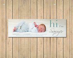 CUSTOM BOOKMARK -  Hi Photo Birth Announcement $16.57 USD  Boy announcement ideas Girl announcement ideas