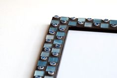 Blue Checkers - Mosaic photo frame
