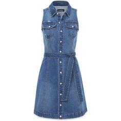 Denim Sleeveless Shirtdress ($129) ❤ liked on Polyvore featuring dresses, sleeveless shirt dress, bebe, sleeveless dress, no sleeve dress and blue sleeveless dress