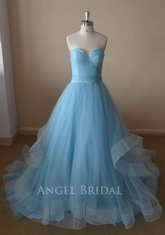 ALine Sky Blue  Tulle Evening  dress Evening   gown by AngelBridal, $220.00....... prom maybe?????