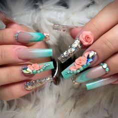 - Spring is a season that women like,you can choose a variety of nail designs in spring especially the flower nails. Acrylic Nail Set, Best Acrylic Nails, Acrylic Nail Designs, Nail Art Designs, Long Nail Designs, Flower Nail Designs, Beautiful Nail Designs, 3d Flower Nails, Wedding Nail Polish
