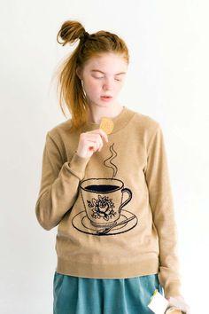 ほっとひと息。のんびり、お茶でもいかが?|のんびりティータイム ニットトップス Syrup, Graphic Sweatshirt, Sweatshirts, Sweaters, Shopping, Style, Fashion, Swag, Moda