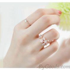 Unique Bright Rhinestone Flowers Ring in ByGoods.com