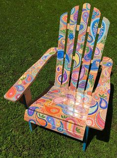 DIY Painting Outdoor Adirondack Chair Ideas - Balcony Decoration Ideas in Every Unique Detail Hand Painted Chairs, Painted Benches, Funky Painted Furniture, Paint Furniture, Rustic Furniture, Wooden Benches, Outdoor Furniture, Adirondack Chairs, Outdoor Chairs