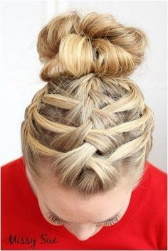 Triple French Braid Double Waterfall Updo - 101 Braid Ideas That Will Save Your Bad Hair Day (Photos)