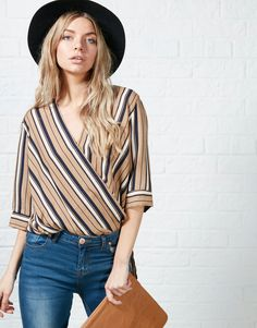 #ARKLOVES a pretty deckchair stripe in muted colours for aw15 - Glamorous Lolli Stripe Wrap Top