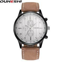 2017 OUKESHI Brand Genuine Leather Military Watch Male Quartz Wristwatch Men Sports Watches Relogio Masculino OKS09 #Affiliate