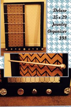 Deluxe size 35 x 29 wooden window Jewelry Organizer Wooden