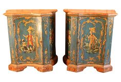"""""""Beautiful pair of 19th-century Italian cabinets with chinoiserie design and red faux-painted marble tops."""""""