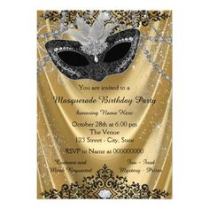 Fancy Black and Gold Masquerade Party 5x7 Paper Invitation Card