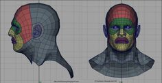 face topology reference - front and side Zbrush Character, Character Modeling, 3d Character, Character Design, 3d Modeling, Blender 3d, Low Poly, Face Topology, Spiderman