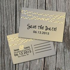 Guardar la fecha postal cadena de luces boda rústica por themunch