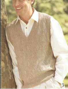Mens Knit V-Neck Sweater Pdf - Pullover Vest Style/OhhhMama/ sleeveless tunic jumper vintage patte Knit Vest Pattern, Sweater Patterns, Knitting Patterns, Crochet Men, Casual Skirt Outfits, Sleeveless Tunic, Madame, Men Sweater, Jumper