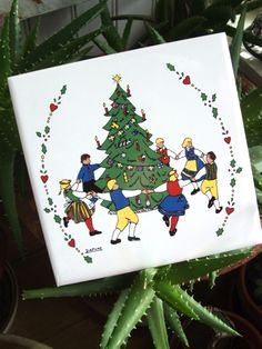 Vintage Berggren Ceramic Tile Trivet Wall Hanging Swedish Christmas Tree and Folk Dancers by lookonmytreasures on Etsy