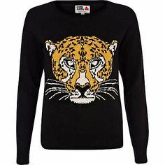 Black Chelsea Girl tiger head sweater - knitwear - sale - women