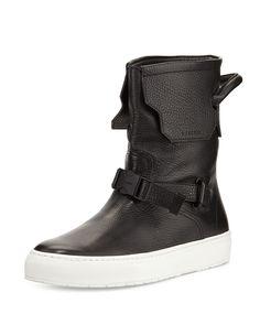 250mm Leather Boot, Black/White, Men's, Size: 44EU/11D - Buscemi