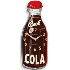Newgate+Cola+Bottle+Wall+Clock+-+If+your+kitchen+is+thirsty+for+some+design-fizz,+then+ensure+you+refresh+it+with+the+Cola+Bottle+Clock+from+Newgate.+The+45cm+timepiece+is+made+from+sturdy+wood,+which+lends+itself+to+the+vintage-style+advertising+'Cool+Cola'+typography,+making+it+a+charismatic+addition+to+any+home.+The+bottle-shaped+Cola+Bottle+Clock+displays+is+numbers+and+clock-hands+clearly,+ensuring+you+can+tell+the+time+with+ease+as+you+check+out+the+refreshing+wall+accessory.+T